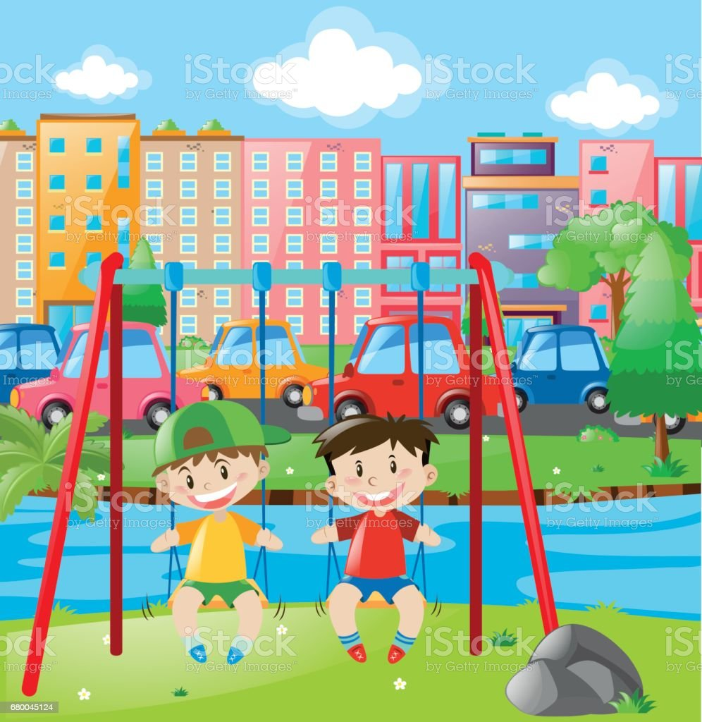 Two boys on swing in the city vector art illustration