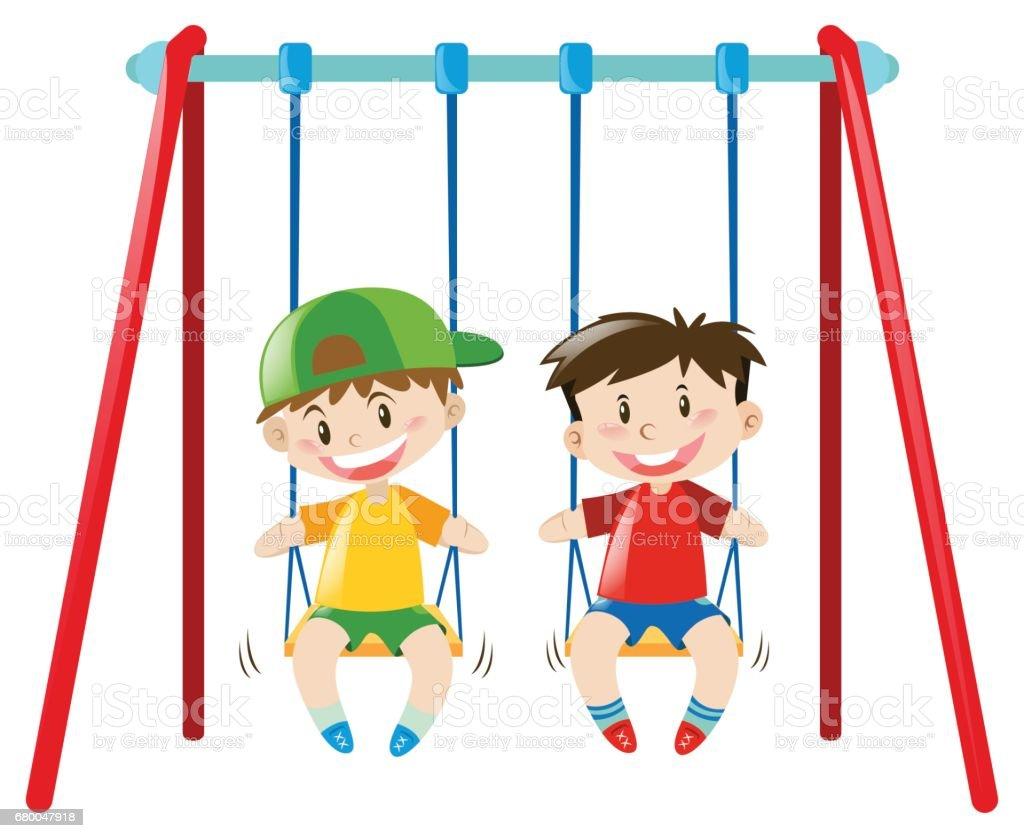 Two boys on the swings vector art illustration