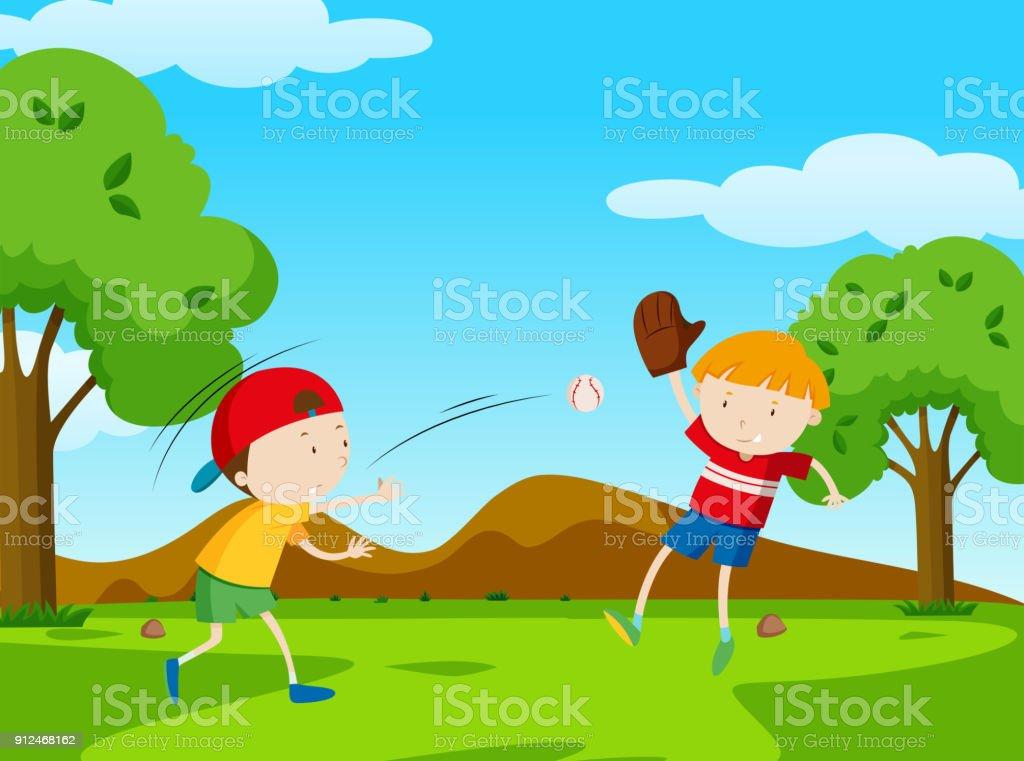 Two boys playing baseball in park vector art illustration