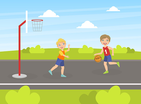 Two Boys Playing Basketball on Playground, Children Walking and Having Fun on the Street Vector Illustration