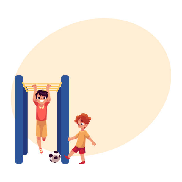 two boys playing football and hanging on monkey bar at playground - monkey bars stock illustrations, clip art, cartoons, & icons
