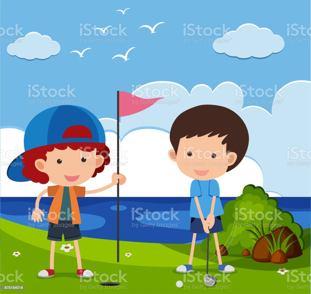 Two boys playing golf in the field vector art illustration