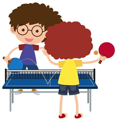 Two boys playing pingpong