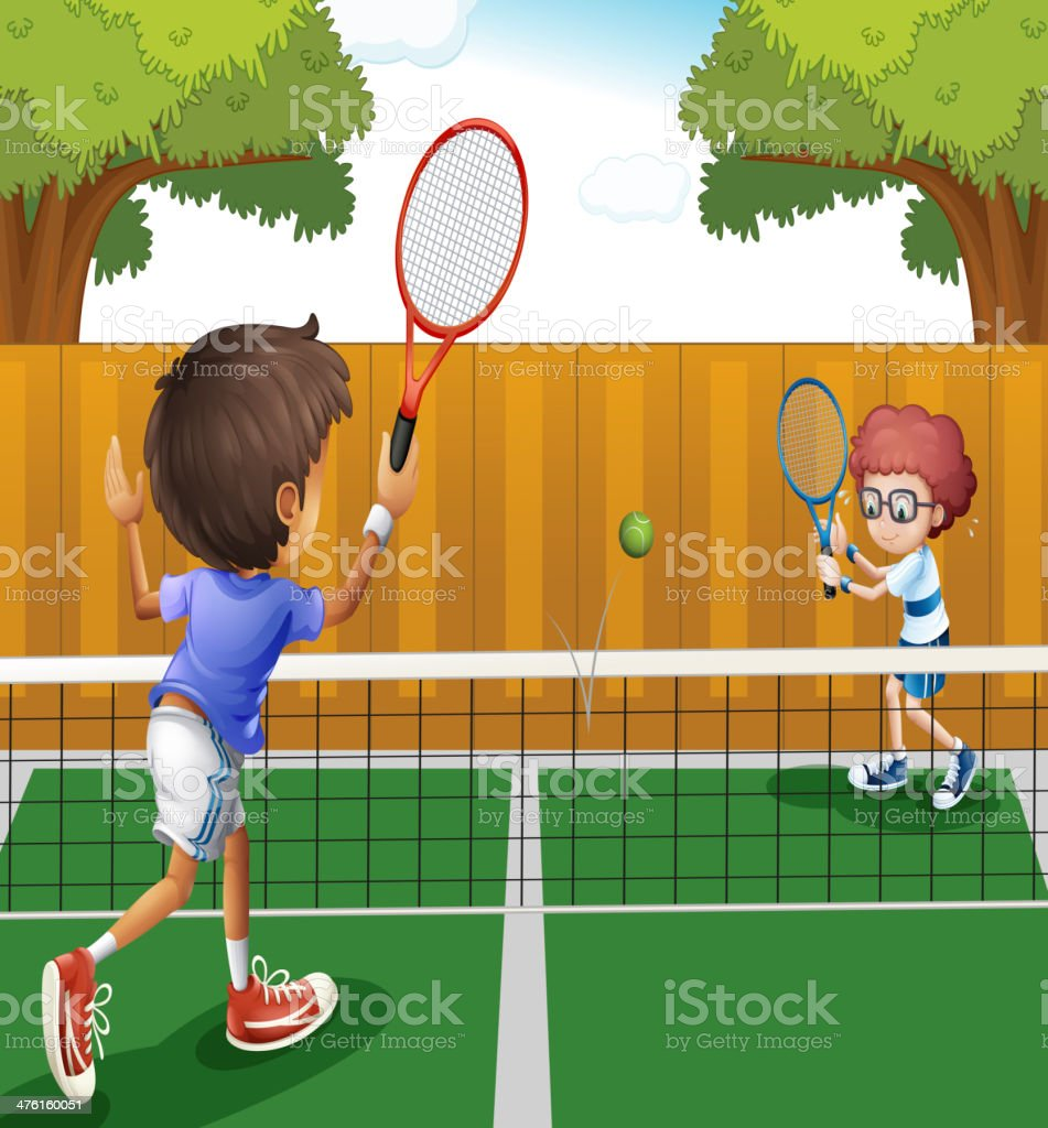 Two boys playing tennis inside the fence vector art illustration