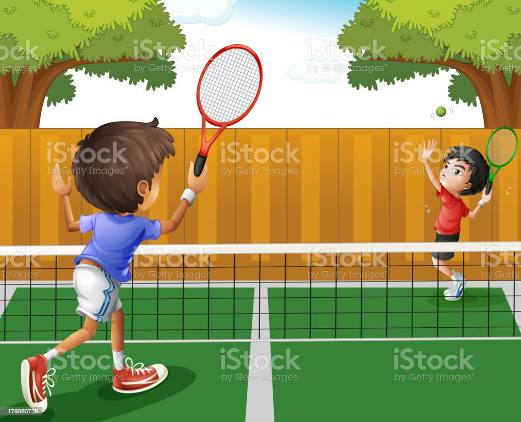 Two boys playing tennis royalty-free stock vector art
