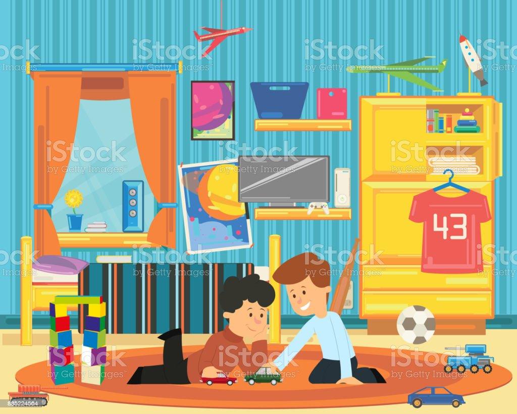 Zwei Jungs Spielen Mit Spielzeug Im Kinderzimmer Stock Vektor Art
