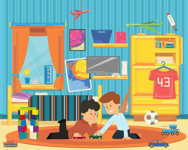 zwei jungs spielen mit spielzeug im kinderzimmer. - bodenbetten stock-grafiken, -clipart, -cartoons und -symbole