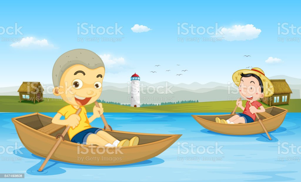 Two boys rowing boat in the lake vector art illustration