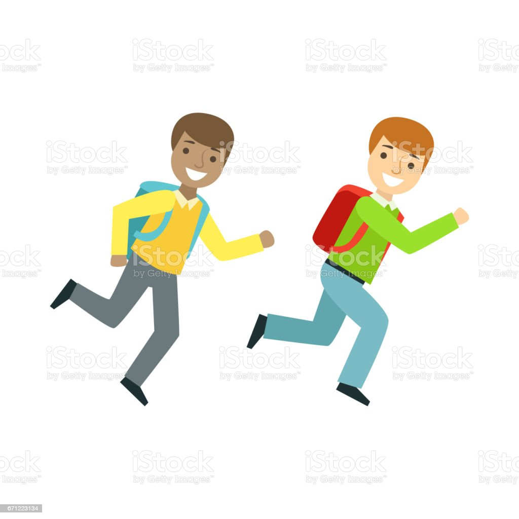 Two Boys Running To The Classroom Part Of School And Scholar Life Series Of  Minimalistic Illustrations Stock Illustration - Download Image Now - iStock