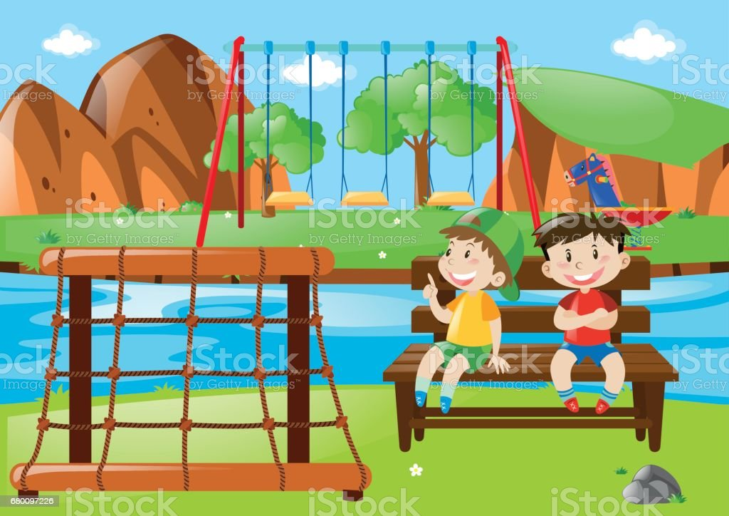 Two boys sitting in the park vector art illustration