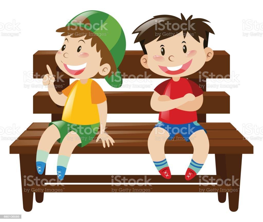 Ilustración de Dos Niños Sentados En La Silla De Madera y