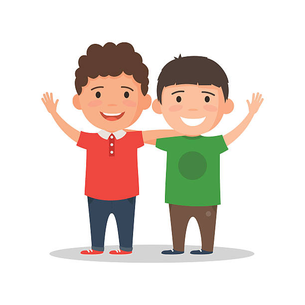 Two boys smile and hug Two boys smiling, hugging and waving their hands. Happy kids best friends. Vector illustration in cartoon style isolated on white background brother stock illustrations