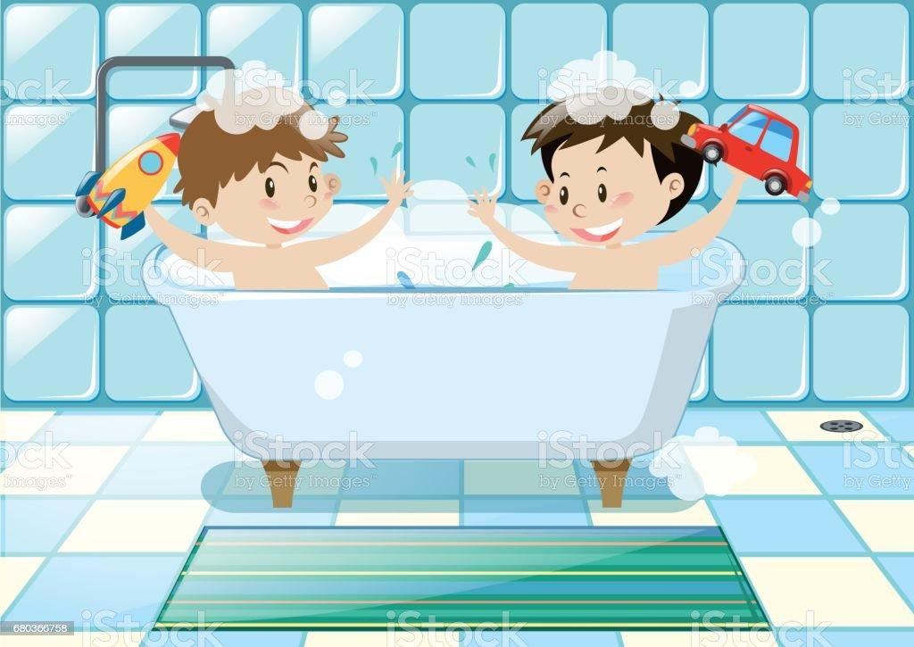 Dois rapazes tomando banho de espuma - ilustração de arte em vetor