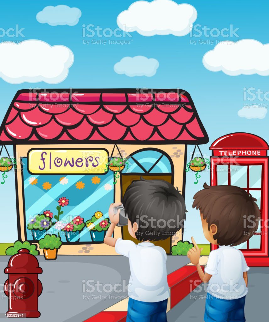 Two boys taking photos near the flower shop royalty-free stock vector art