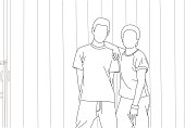 A line drawing of two boys posing.