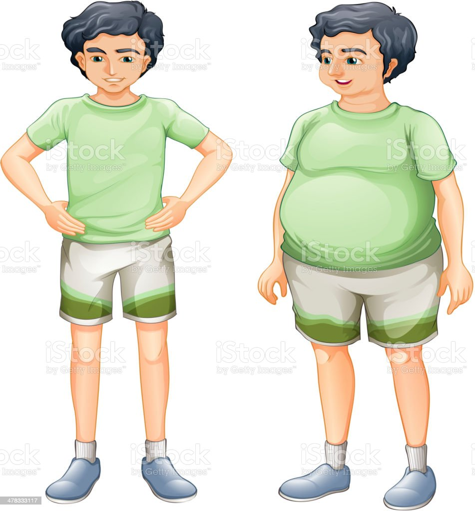 Two boys with same shirt but of different body sizes vector art illustration