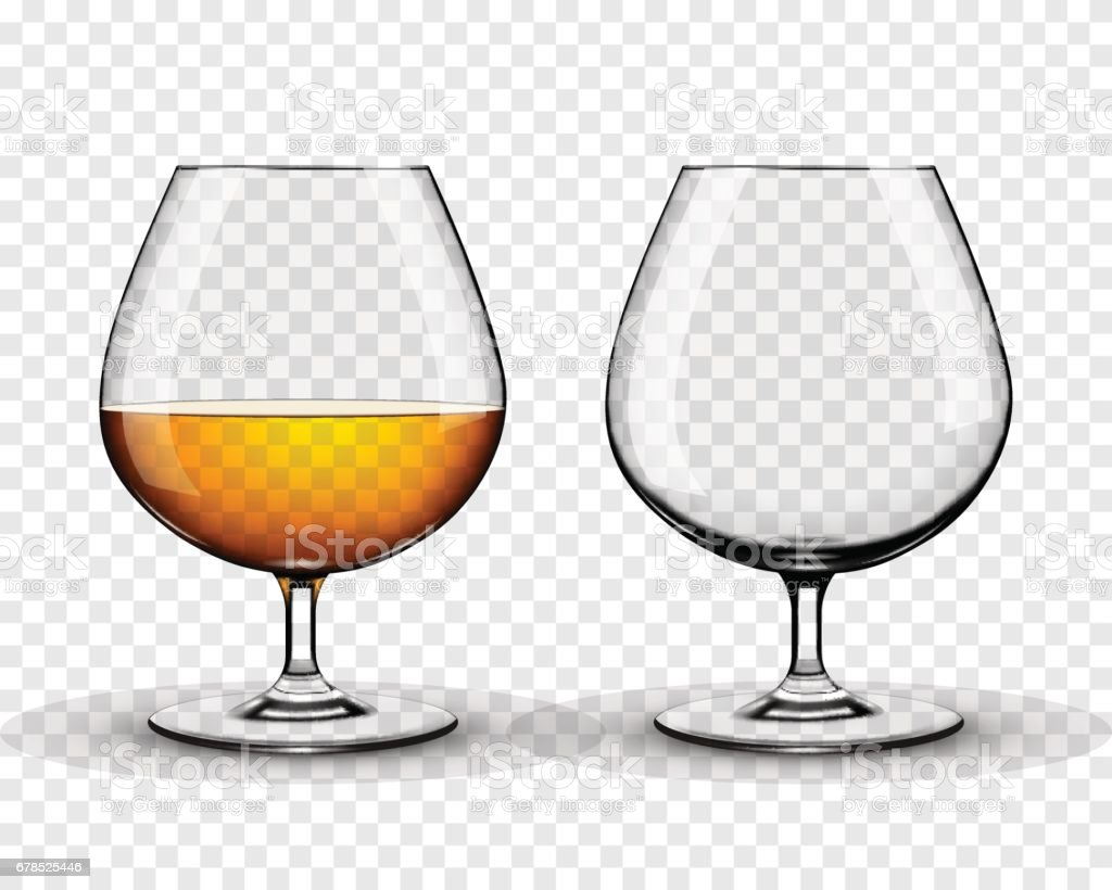 Two brandy glasses (empty and with alcohol) isolated on transparent background vector art illustration