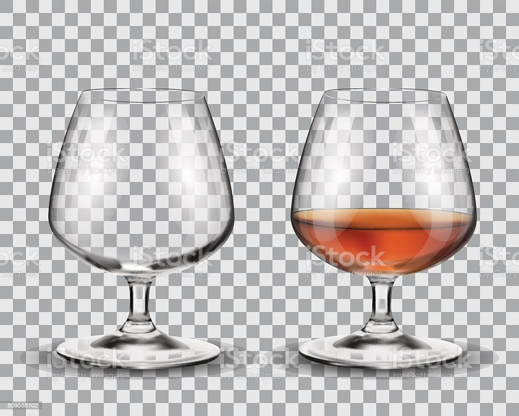 Two brandy glasses vector art illustration