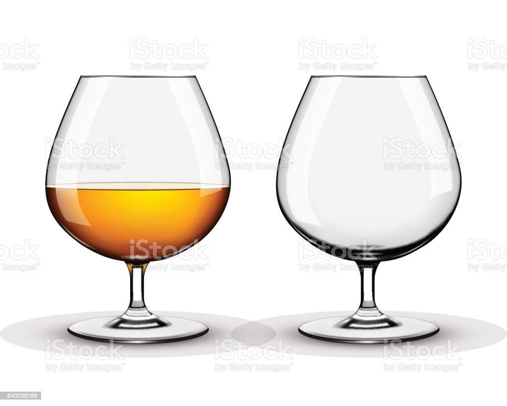 Two brandy glasses vector art illustration