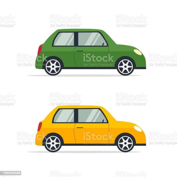 Twee Helder Gekleurde Autos In Vlakke Stijl Stockvectorkunst En Meer Beelden Van Auto Istock
