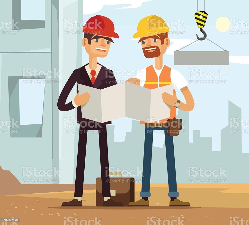 Two builders. Builder and engineer. Builders read plan. Building houses vector art illustration