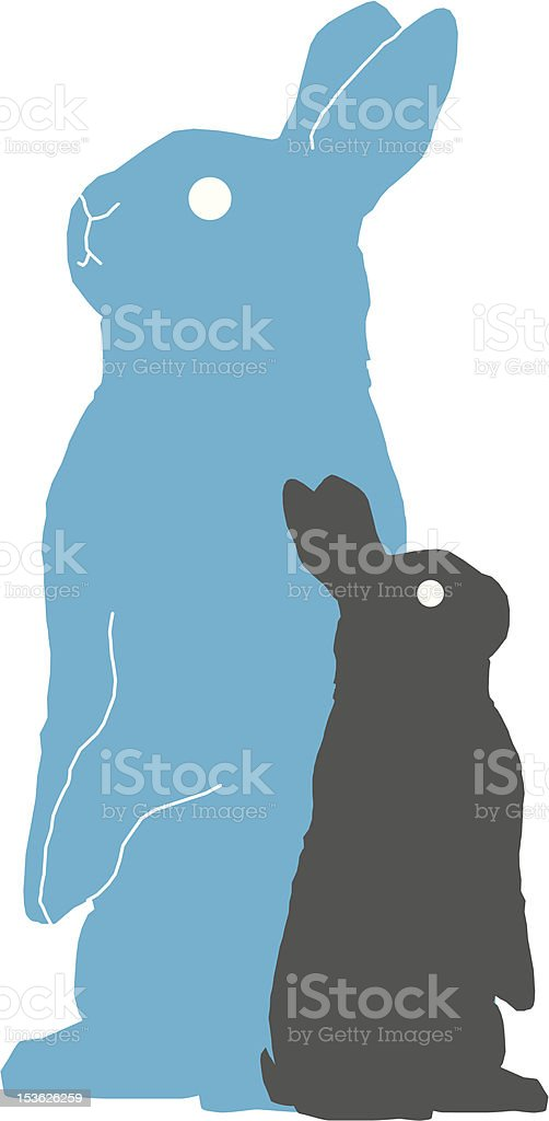 Two Bunny Standing Two bunnies standing up Animal stock vector