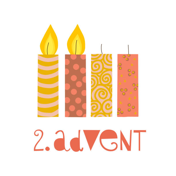ilustraciones, imágenes clip art, dibujos animados e iconos de stock de dos velas de adviento ardiente vector ilustración. - adviento