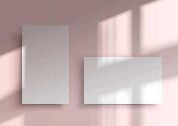 stockillustraties, clipart, cartoons en iconen met twee visitekaartjes. schaduw bedekken vanuit het venster - raam bezoek