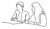 Two business ladies in negotiations. Business concept illustration. Continuous line drawing. Isolated on the white background. Vector illustration monochrome
