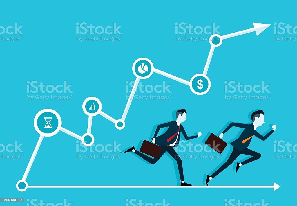 two business man competitive with business on info graph. fast business vector art illustration