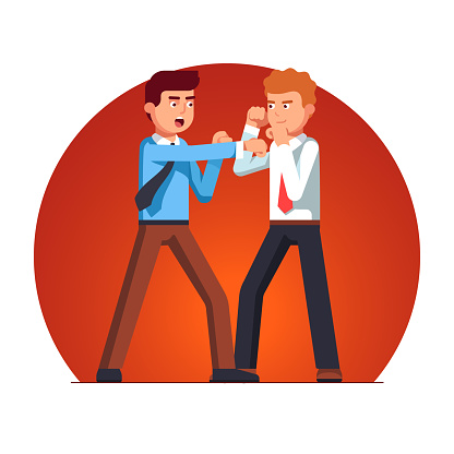 Two business man fight having argument. Flat vector clipart illustration
