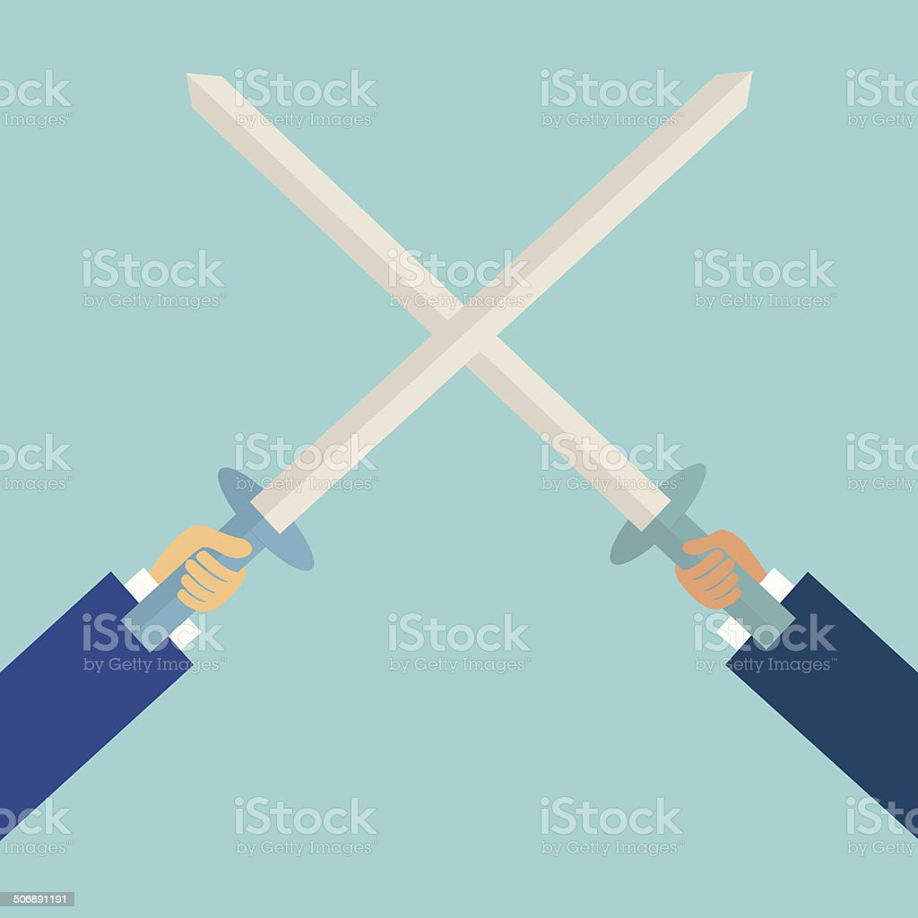 two business man fighting with sword,business concept,illustration,vector vector art illustration