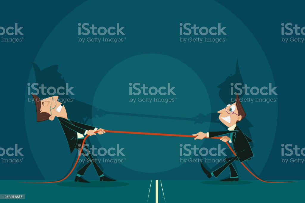 Two business man holding a rope and fighting for it vector art illustration