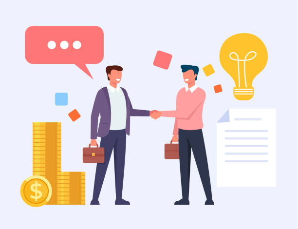 two business man office workers people characters shaking hands. vector flat cartoon graphic design illustration - sprzedawać stock illustrations