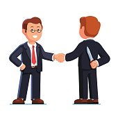 Two business man shaking hands. Betrayal metaphor.