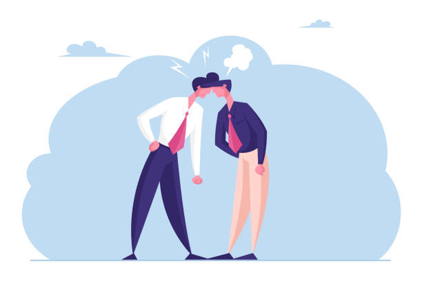 Two Business Men Enemies or Opponents Standing Head to Head Arguing and Staring at Each Other. Work Conflict Between Colleagues or Office Workers. Fight for Leadership Cartoon Flat Vector Illustration Two Business Men Enemies or Opponents Standing Head to Head Arguing and Staring at Each Other. Work Conflict Between Colleagues or Office Workers. Fight for Leadership Cartoon Flat Vector Illustration businesswear stock illustrations
