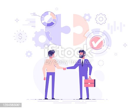 istock Two business partners are shaking hands. The investor investing money to idea and startup. Partnership and deal concept. Modern vector illustration. 1254583061