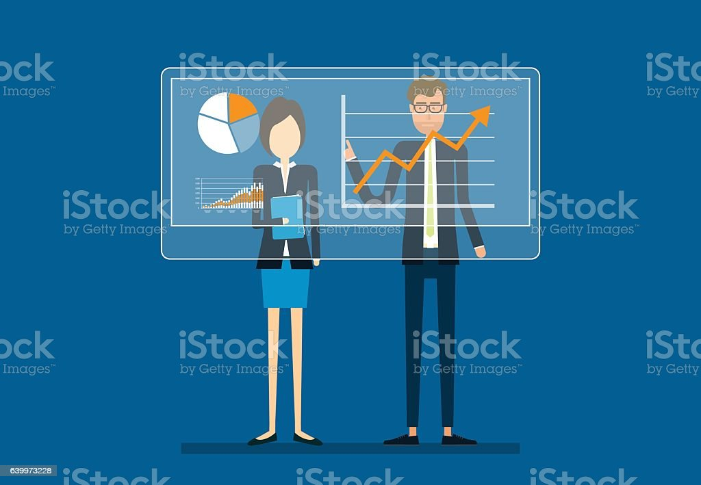 two business people analyze  on financial report graph vector art illustration