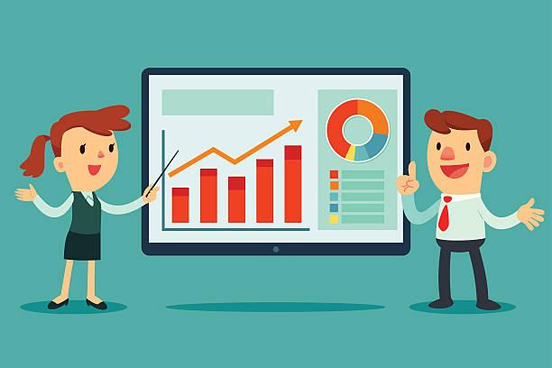 Zwei Geschäftsleute, die Präsentation – Vektorgrafik
