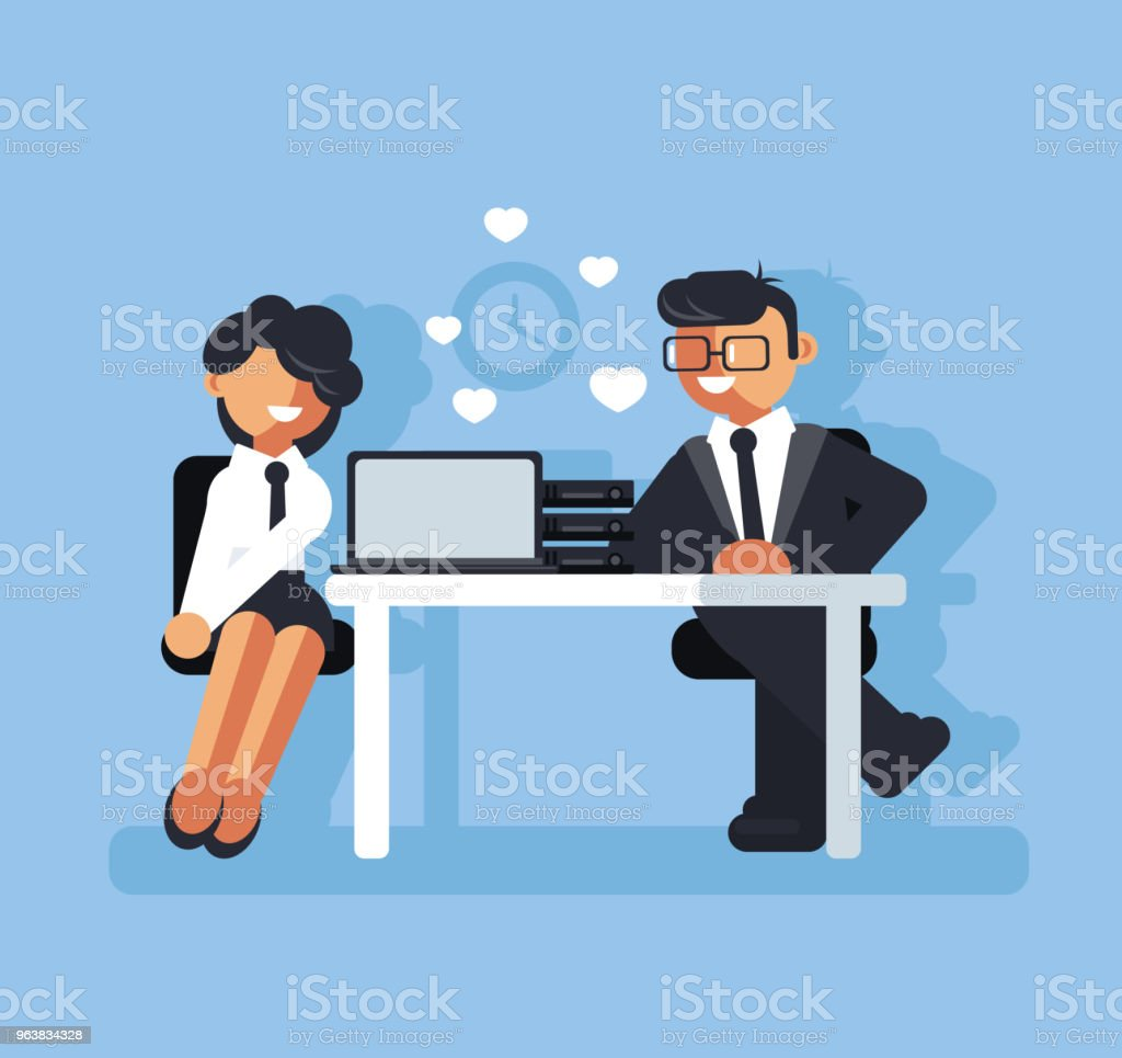 Two business people man boss and woman character falling in love at work. Corporate romance concept. Vector flat cartoon graphic design isolated illustration vector art illustration