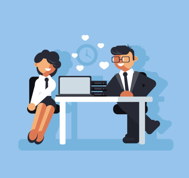 Two business people man boss and woman character falling in love at work. Corporate romance concept. Vector flat cartoon graphic design isolated illustration Two business people man and woman character falling in love at work. Corporate romance concept. Vector flat cartoon graphic design isolated flirting stock illustrations