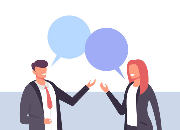 Two business people office workers man woman characters talking. Business life concept. Vector design graphic flat cartoon isolated illustration Two business people office workers man woman characters talking. Business life concept. Vector design graphic flat cartoon isolated two people stock illustrations