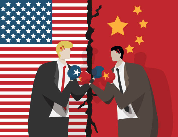 two business people wearing boxing gloves for fight , flag of USA and China at background. trade war between USA and China concept two business people wearing boxing gloves for fight , flag of USA and China at background. trade war between USA and China concept trade war stock illustrations
