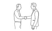 Two business shaking hands during meeting. Line drawing vector illustration.