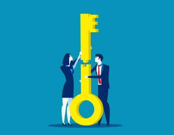 zwei unternehmen. teamarbeit-puzzle der tasten zusammen. konzept-business-partnerschaft-vektor-illustration, flache geschäft cartoon, charakter-design-stil. - schlüsselfertig stock-grafiken, -clipart, -cartoons und -symbole