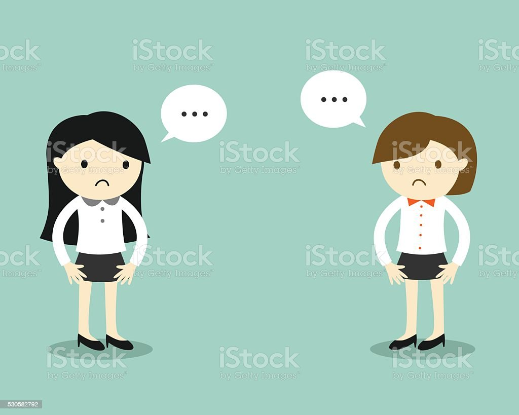 Two business women feeling awkward with each other. vector art illustration