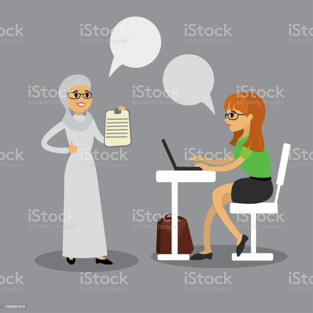 Two business women talking,caucasian office manager and arab bos