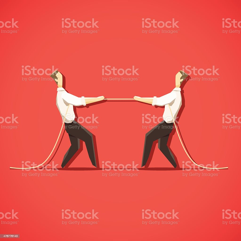 Two Businessman are pulling the rope vector art illustration