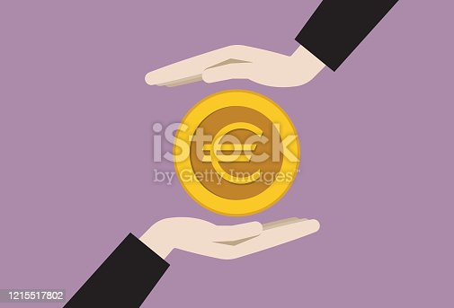 istock Two businessman hands with a euro coin 1215517802
