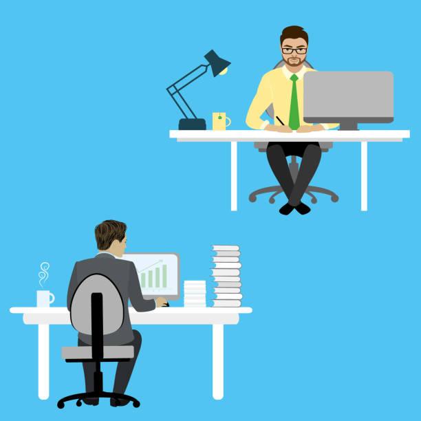 zwei geschäftsmann oder büro-arbeiter am schreibtisch sitzen und arbeiten - berufstätige männer stock-grafiken, -clipart, -cartoons und -symbole